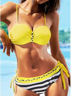 Bikinis Del chinlon Raya Underwire Hacer subir De mujer Sí Ropa de baño
