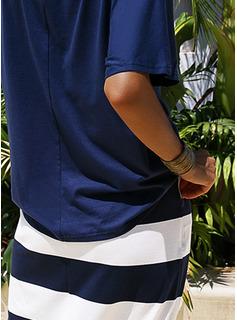 Imprimeu Çizgili Manşon Măneci Trei Sferturi Midi gündelik Moda Elbiseler