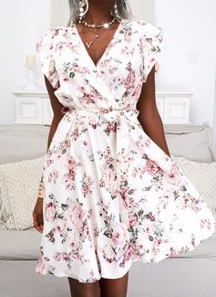 Floral Impresión Vestido línea A Manga Corta Mini Elegante Patinador Bolero Vestidos de moda