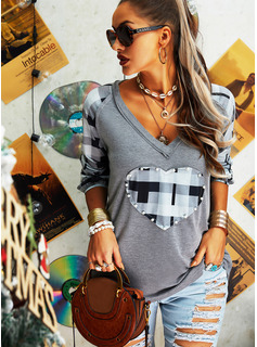 Beaded Print V-Neck Long Sleeves Casual T-shirt