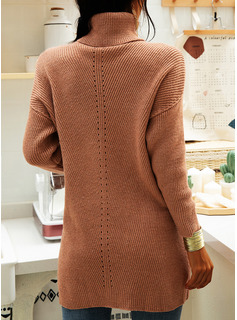Turtleneck Casual Long Solid Chunky knit Ribbed Sweaters