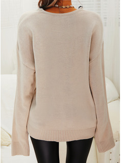 V-Neck Casual Lace Solid Sweaters