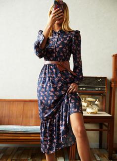 Print Skede Lange ærmer Midi Casual Mode kjoler