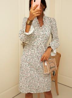 Knee Length V neck Polyester Button/Print 3/4 Sleeves Fashion Dresses
