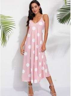 Maksimum V-hals Polyester Polka prik Uden Ærmer Mode kjoler