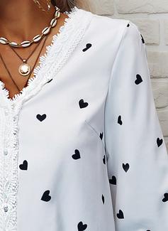 Lace Print Heart V-Neck Long Sleeves Button Up Elegant Shirt Blouses