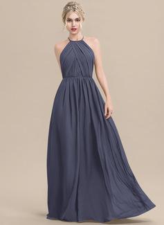 Scoop Neck Dusty Blue Chiffon Dresses