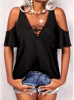 Einfarbig Schulterfrei Kurze Ärmel Lässige Kleidung Blusen