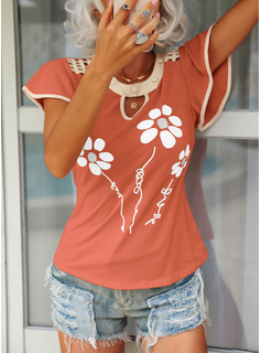 Floral Round Neck Flare Sleeve Short Sleeves Casual