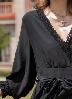 Pizzo Solido Abiti Linea A 3/4 maniche Mini Piccolo nero Casuale Vacanza pattinatore Vestiti di moda