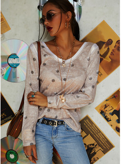 Print Sequins Round Neck Long Sleeves Casual T-shirt