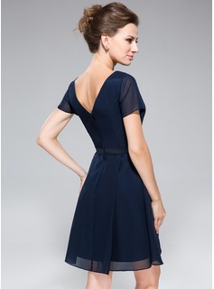 A-Line Cowl Neck Knee-Length Chiffon Bridesmaid Dress With Ruffle