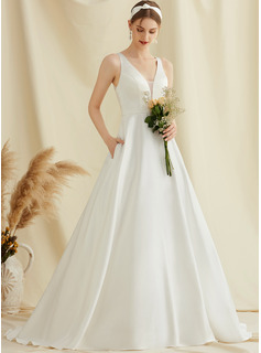 Ball-Gown/Princess V-neck Sweep Train Satin Lace Wedding Dress With Pockets