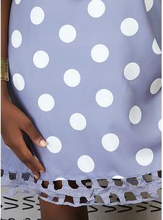 水玉模様 くり抜いた シフトドレス ノースリーブ ミディ カジュアル タンク ファッションドレス