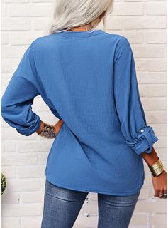 Sólido Cuello en V Mangas 3/4 Con Botones Casual Camisas Blusas