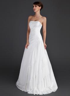 Vestidos princesa/ Formato A Sem Alças Longos Tafetá Vestido de noiva com Beading Babados em cascata