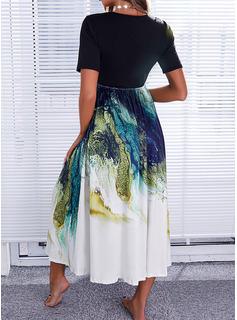Color Block Print Kjole med A-linje Korte ærmer Midi Casual Ferie skater Mode kjoler