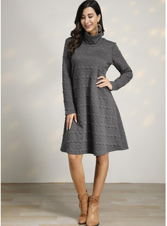 Solid Shift Long Sleeves Midi Little Black Casual Tunic Dresses