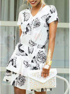 Nad kolanem Litera V Poliester Wydrukować Krótkie Rękawy Modne Suknie