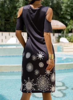 Print Skiftekjoler Kold-skulder ærmer Mini Casual Mode kjoler