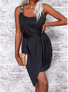 Sólido Cubierta Sin mangas Midi Pequeños Negros Elegante Vestidos de moda