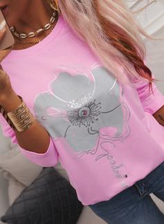 Figura Floral Impresión Cuello Redondo Manga Larga Casual camiseta