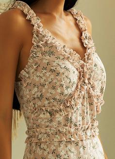 フローラル 印刷 ボディコンドレス ノースリーブ ミニ カジュアル セクシー 休暇 ファッションドレス
