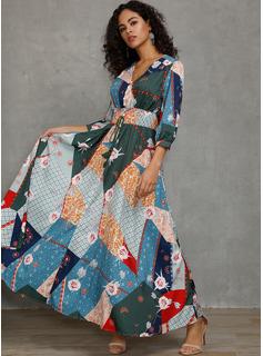 poliéster con Botones/Costura/Impresión Maxi Vestido