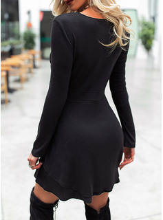 Solid A-line Long Sleeves Mini Little Black Elegant Skater Dresses