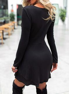 固体 Aラインワンピース 長袖 ミニ リトルブラックドレス エレガント スケーター ファッションドレス
