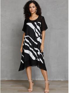 Szyfon Z Wydrukować Midi Sukienka