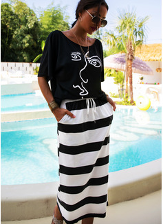 Midi One Shoulder Polyester Print Short Sleeves Fashion Dresses