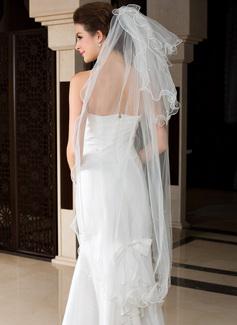 3 couches Voiles de mariée valse avec Bord festonné