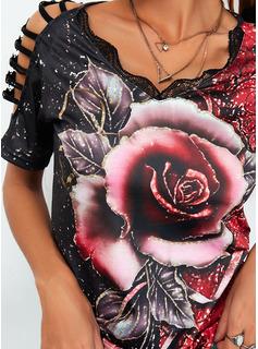 Floral Impresión Top Con Hombros Manga Corta Casual Blusas