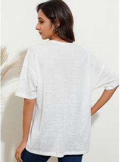 Print V-hals 1/2 ærmer Casual T-shirt