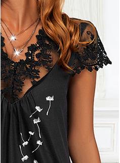 フローラル 印刷 シフトドレス 半袖 ミディ カジュアル チュニック ファッションドレス