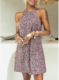Above Knee Halter Polyester Print Sleeveless Fashion Dresses