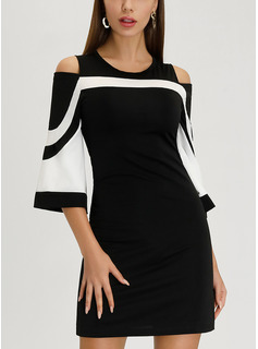 Striped Sheath 3/4 Sleeves Cold Shoulder Sleeve Mini Elegant Dresses