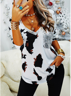 Leopard Sequins V-Neck Long Sleeves Casual T-shirt