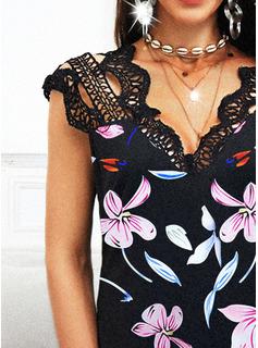 Fleurie Imprimé Coupe droite Manches Courtes Midi Décontractée Robes tendance