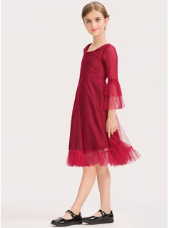 A-Line Scoop Neck Knee-Length Tulle Junior Bridesmaid Dress With Cascading Ruffles