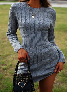 Round Neck Casual Long Solid Cable-knit Chunky knit Sweaters