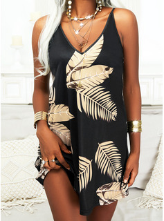 Impresión Vestidos sueltos Sin mangas Mini Elegante Vestidos de moda