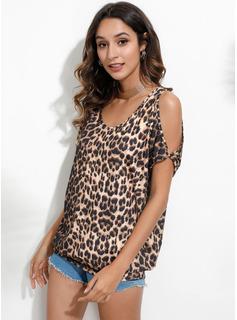 leopardo Stampa Spalle esposte 1/2 maniche Casuale