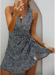 Print Sheath Sleeveless Mini Casual Wrap Dresses