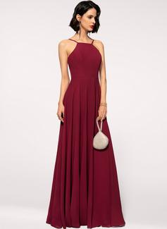Cuello Cuadrado Escote redondo Borgoña Gasa Vestidos de moda