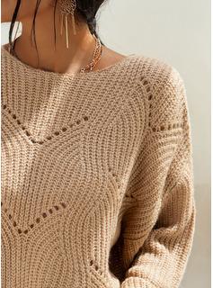 Girocollo Casuale Solido Cavo Knit Maglia grossa Maglioni