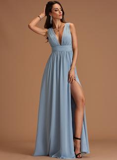 Corte A Escote en V Hasta el suelo Gasa Vestidos de moda
