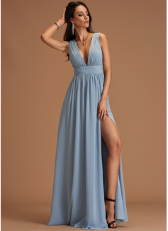 A-linje V-hals Gulvlængde Chiffon Mode kjoler