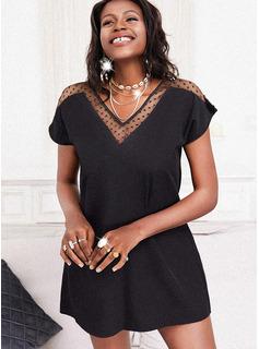 Solid Shift Short Sleeves Mini Little Black Casual Tunic Dresses